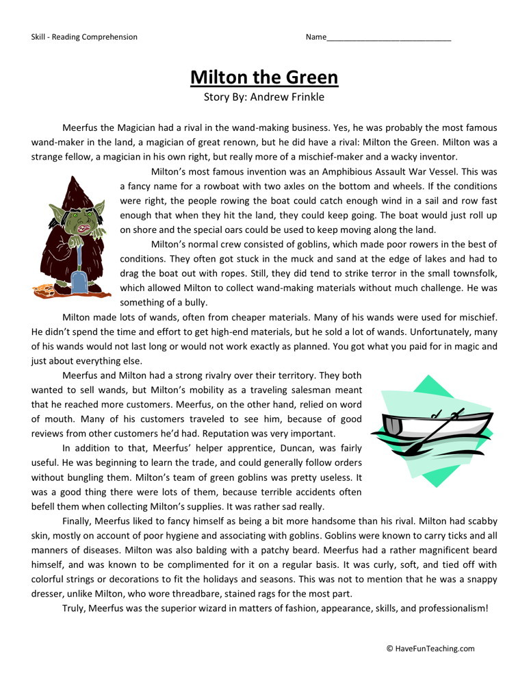 Reading Comprehension Worksheet - Milton the Green