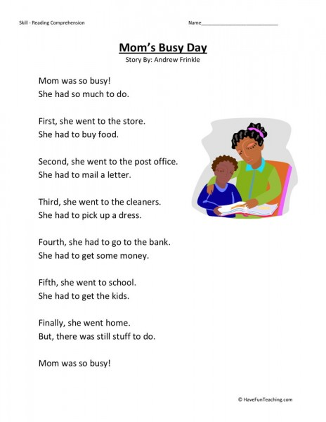 Reading Comprehension Worksheet - Momu0026#39;s Busy Day