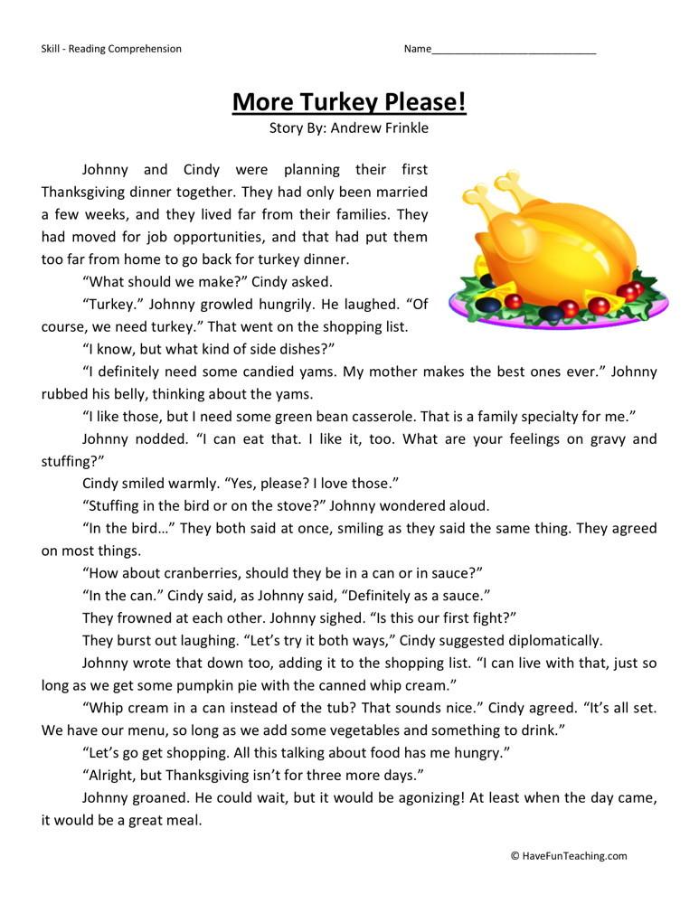 Reading Comprehension Worksheet - More Turkey Please!