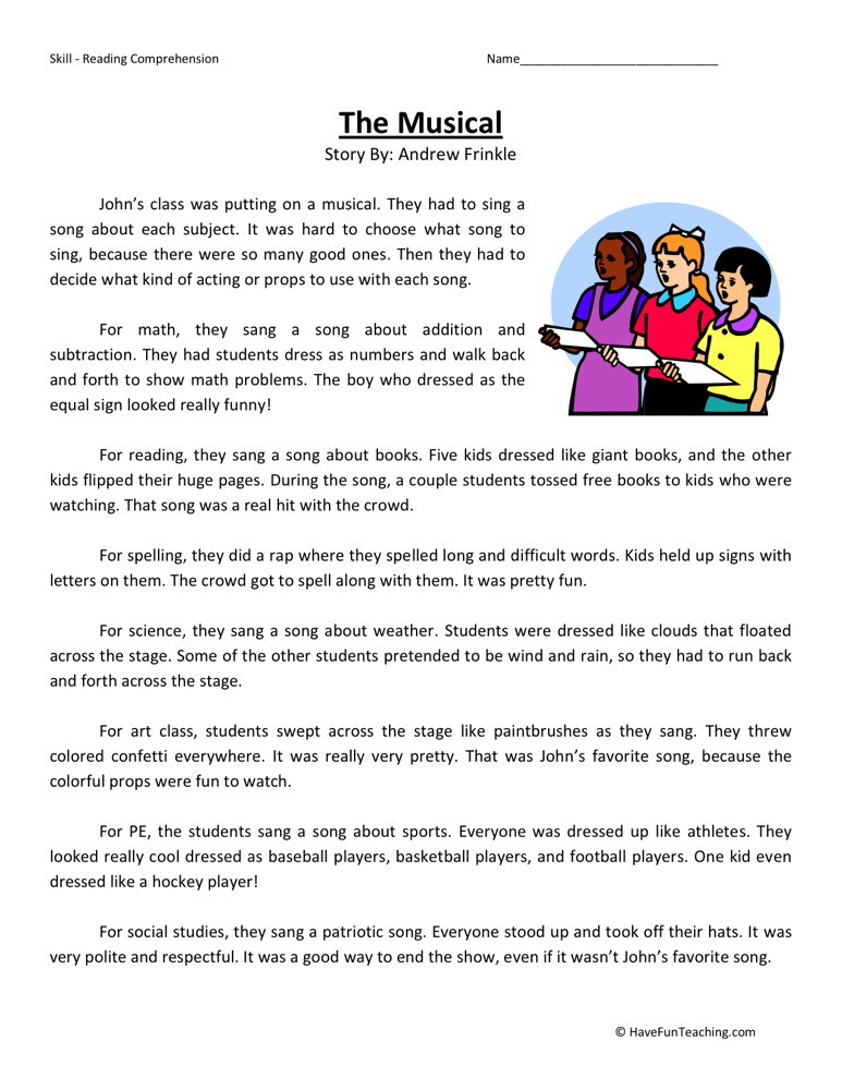 Reading Comprehension Worksheet - The Musical