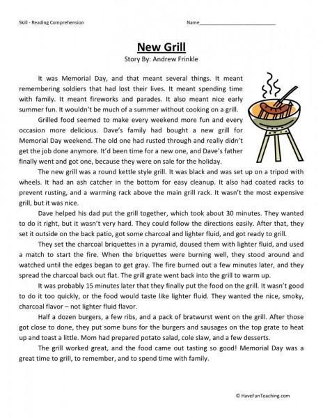 Worksheets 5th Grade Teacher : Reading comprehension worksheet new grill