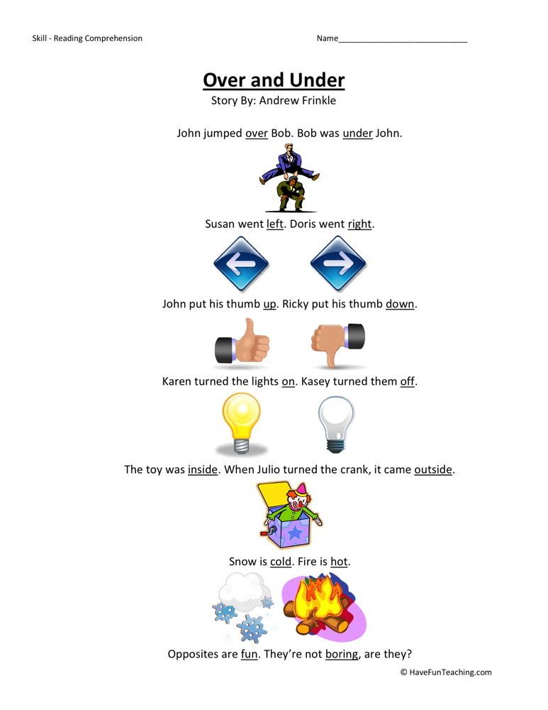 Reading Comprehension Worksheet - Over and Under