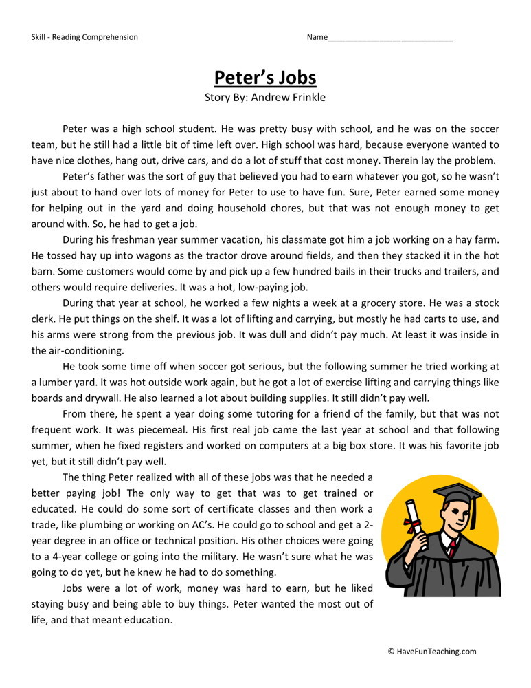 Reading Comprehension Worksheet Peter 39 S Jobs