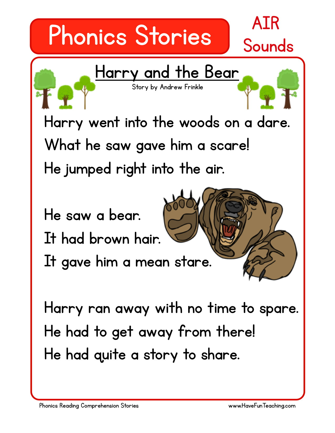 Reading Comprehension Worksheet - Harry and the Bear