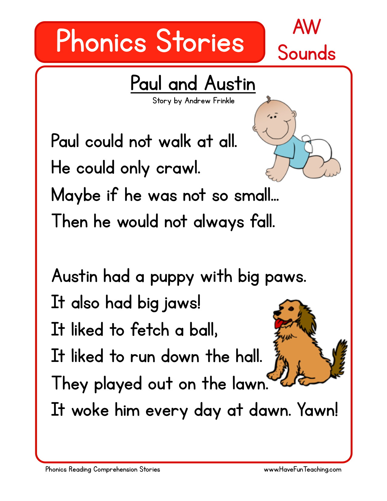 - Reading Comprehension Worksheet - Paul And Austin