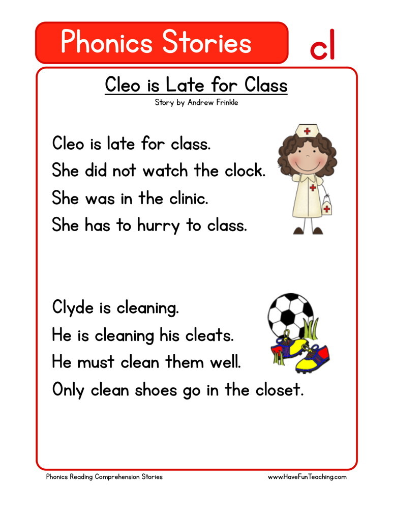 Reading Comprehension Worksheet - Cleo is Late for Class