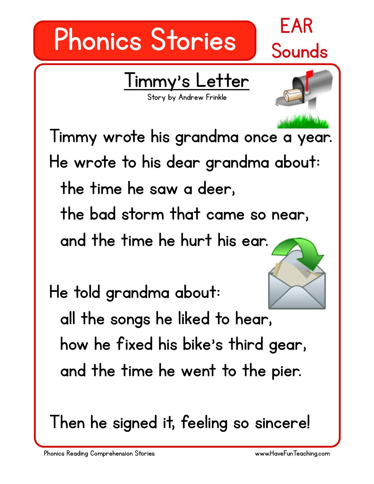 - Reading Comprehension Worksheet - Timmy's Letter
