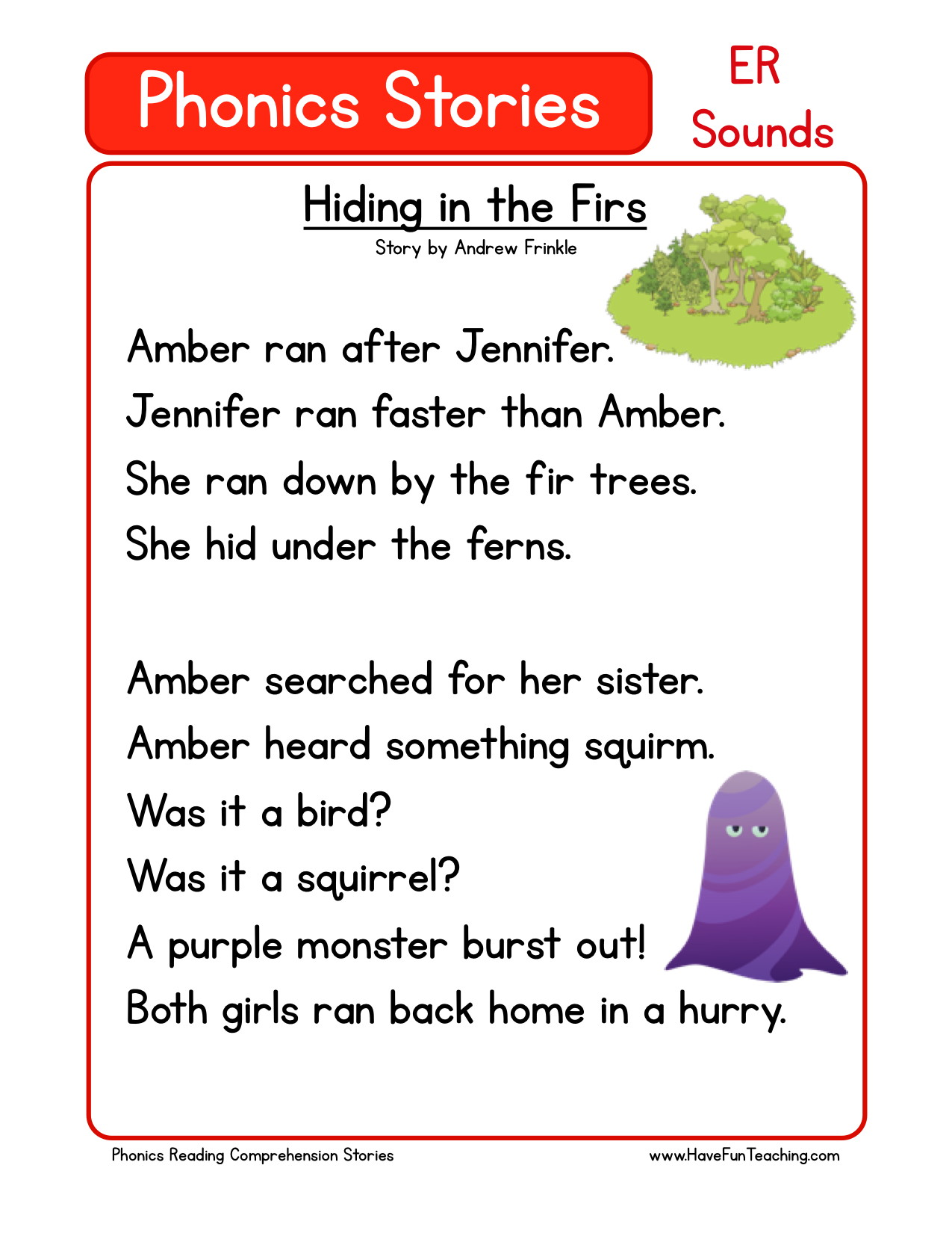 worksheet Er Worksheets For Kindergarten reading comprehension worksheet hiding in the firs