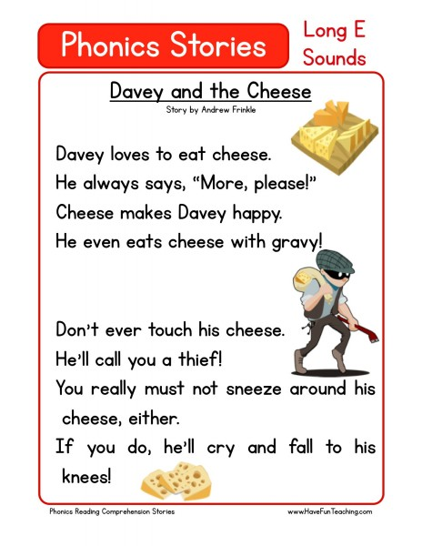 Reading Comprehension Worksheet - Davey and the Cheese