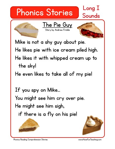 Reading Comprehension Worksheet - The Pie Guy