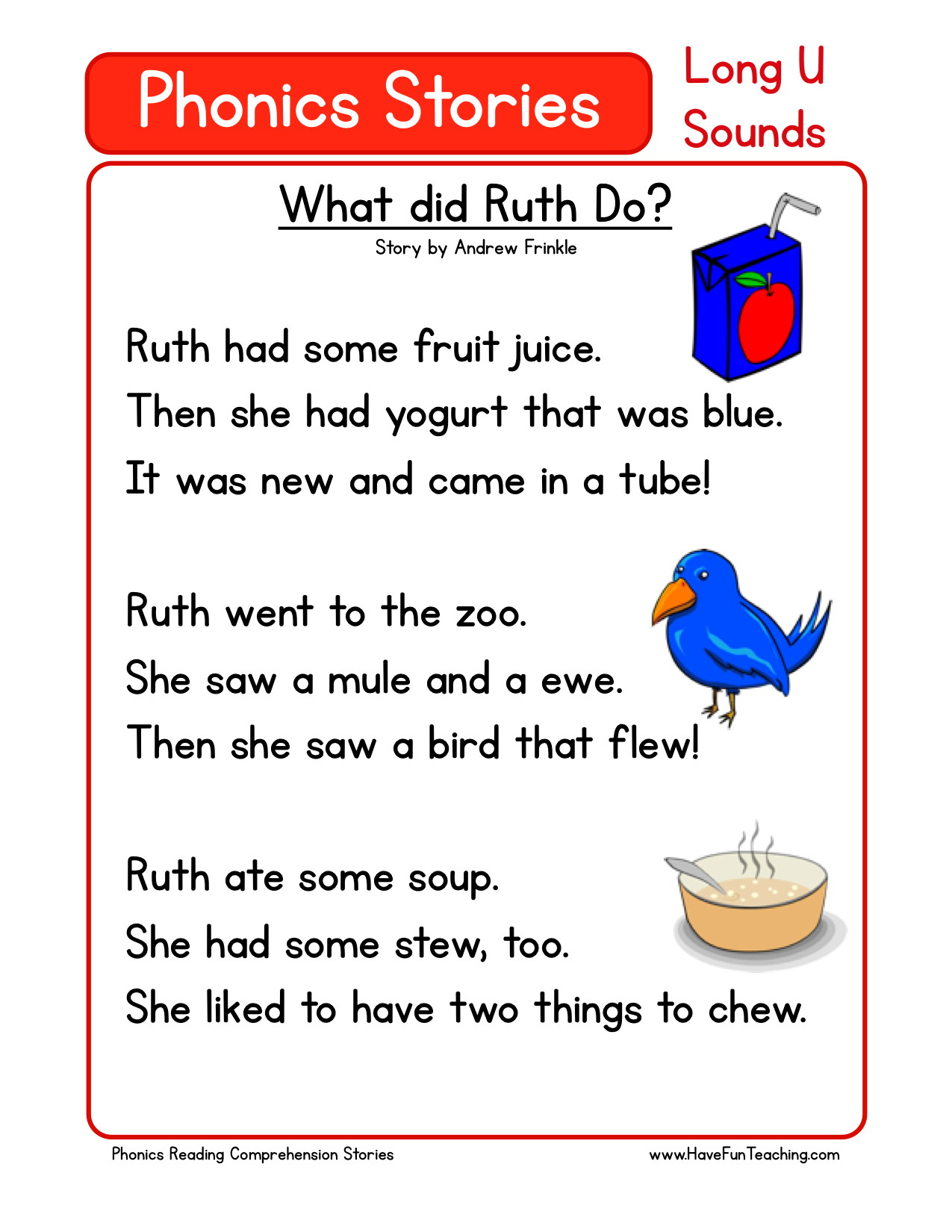 math worksheet : reading comprehension worksheet  what did ruth do  : Reading Comprehension Worksheets For Kindergarten Free