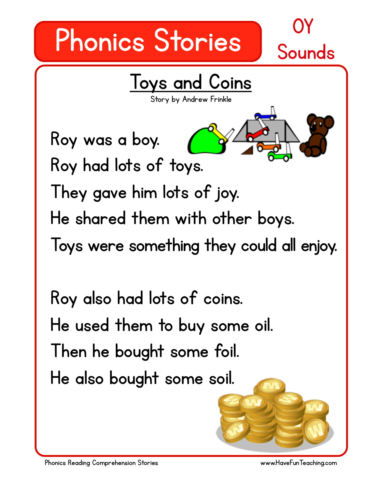 - Reading Comprehension Worksheet - Toys And Coins