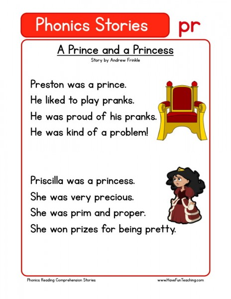Reading Comprehension Worksheet - A Prince and a Princess