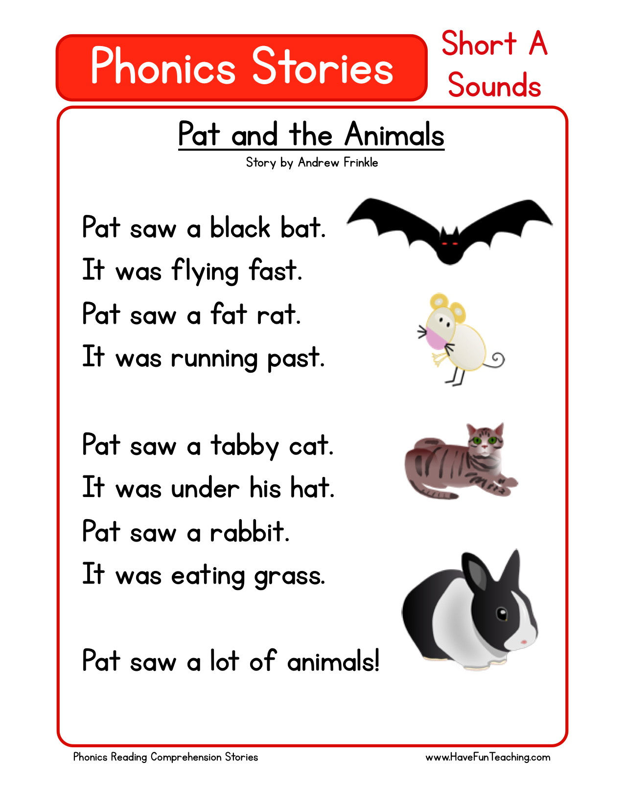 worksheet First Grade Reading Comprehension Worksheet reading comprehension worksheet pat and the animals