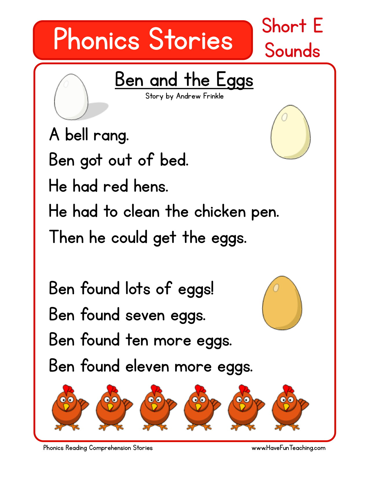 worksheet First Grade Reading Comprehension Worksheet reading comprehension worksheet ben and the eggs