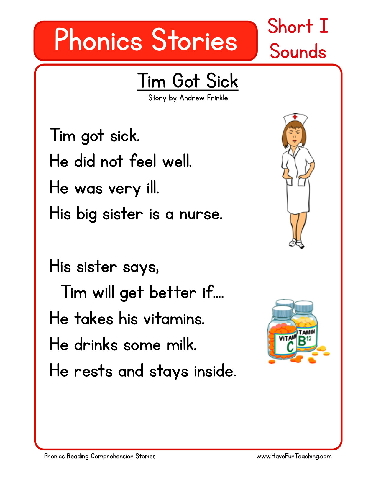 Reading Comprehension Worksheet - Tim Got Sick