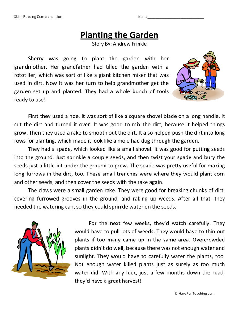 reading comprehension worksheet planting the garden. Black Bedroom Furniture Sets. Home Design Ideas