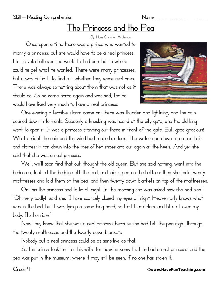 Reading Comprehension Worksheet - The Princess and the Pea