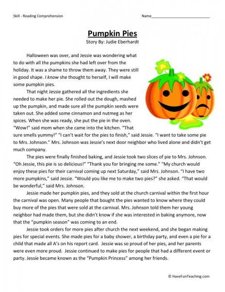 4th Grade Phonics Worksheets : Reading comprehension worksheet pumpkin pies