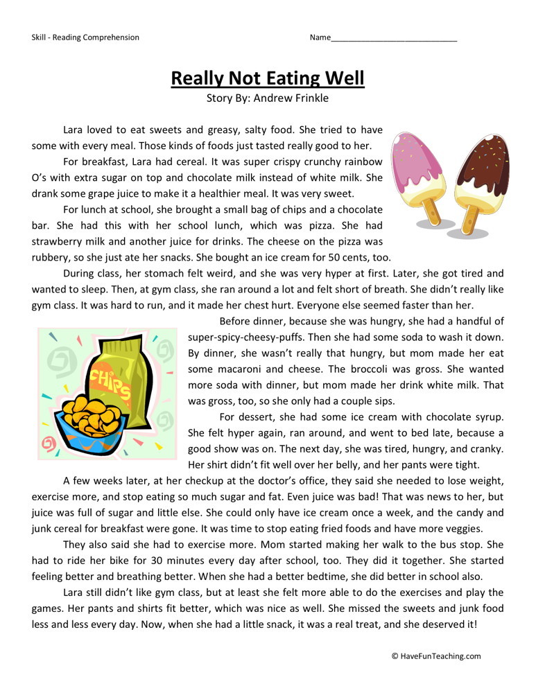 Reading Comprehension Worksheet - Really Not Eating Well