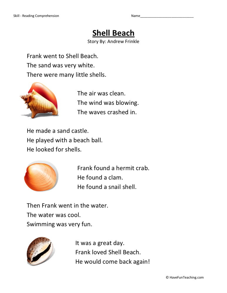 Reading Comprehension Worksheet Shell Beach