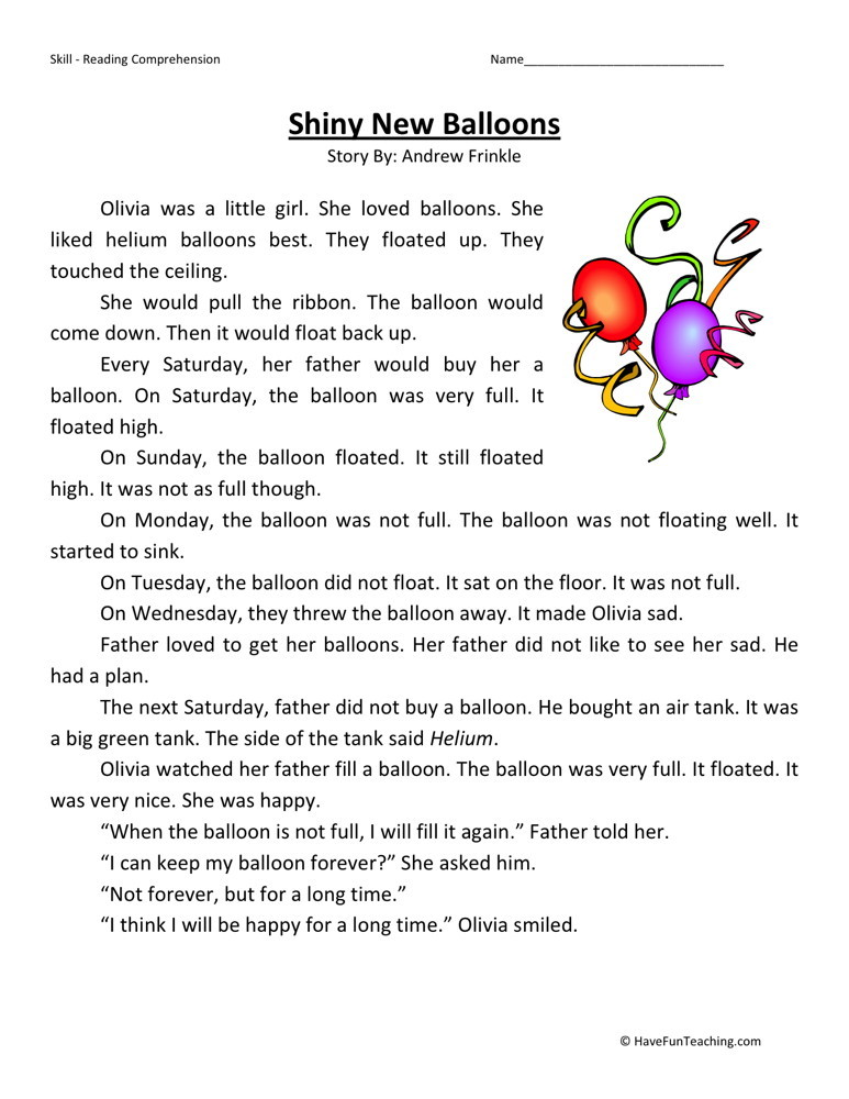 First Grade Reading Worksheets – First Grade Comprehension Worksheets