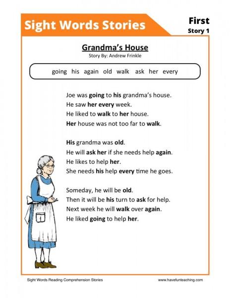 Reading Comprehension Worksheet - Grandmau0026#39;s House
