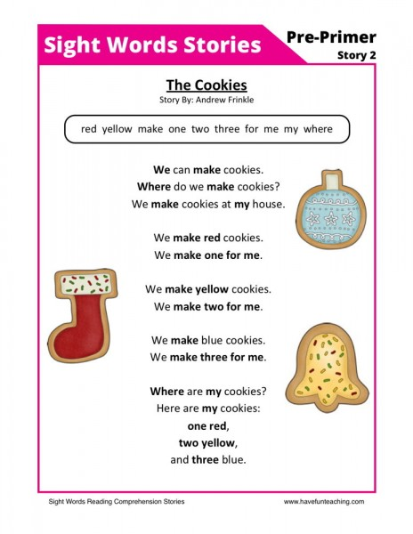 Reading Comprehension Worksheet -The Cookies