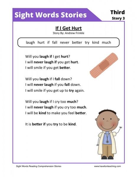 Reading Comprehension Worksheet - If I Get Hurt