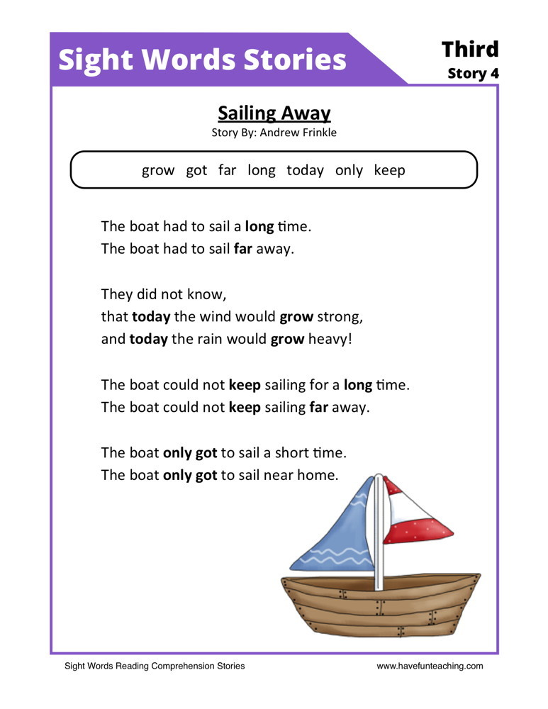 Reading Prehension Worksheet Sailing Away