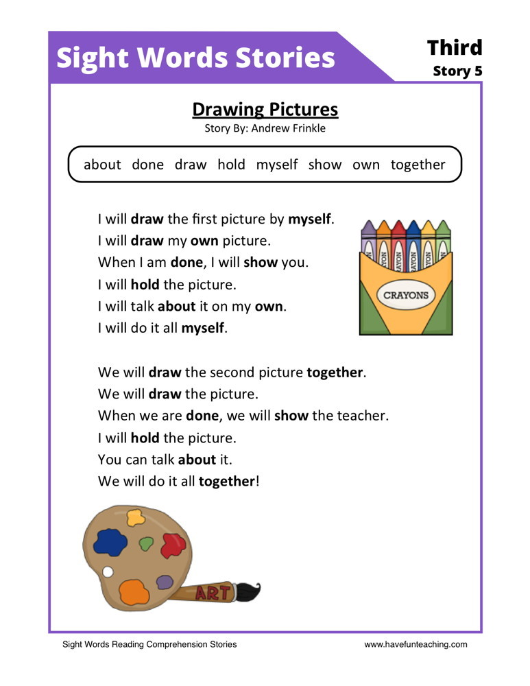 Printables Reading Comprehension Worksheets For 1st Grade first grade reading comprehension worksheets drawing pictures