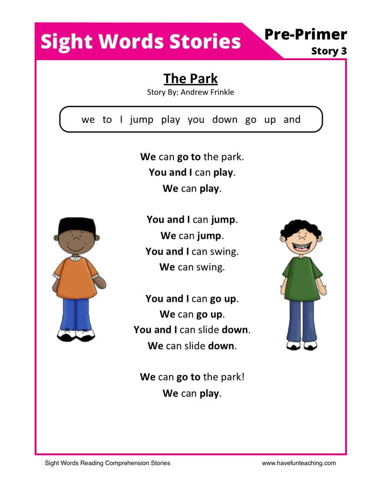 reading comprehension worksheet the park