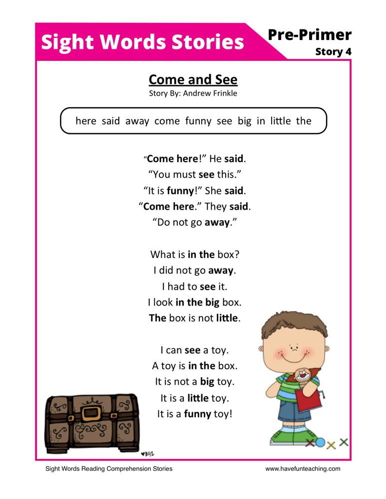 reading comprehension worksheets preschool reading comprehension ...