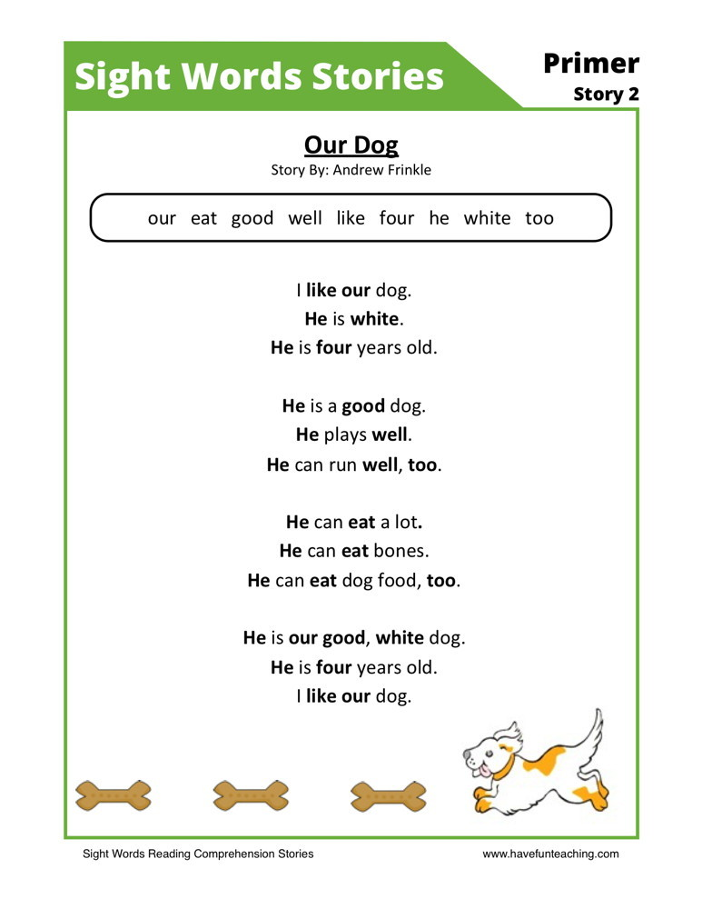 Reading Comprehension Worksheet - Our Dog