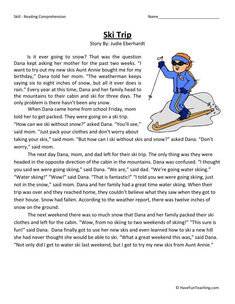 Homework For 3rd Grade Worksheets : Reading comprehension worksheet ski trip