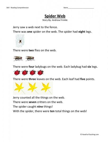 reading comprehension worksheet spider web. Black Bedroom Furniture Sets. Home Design Ideas