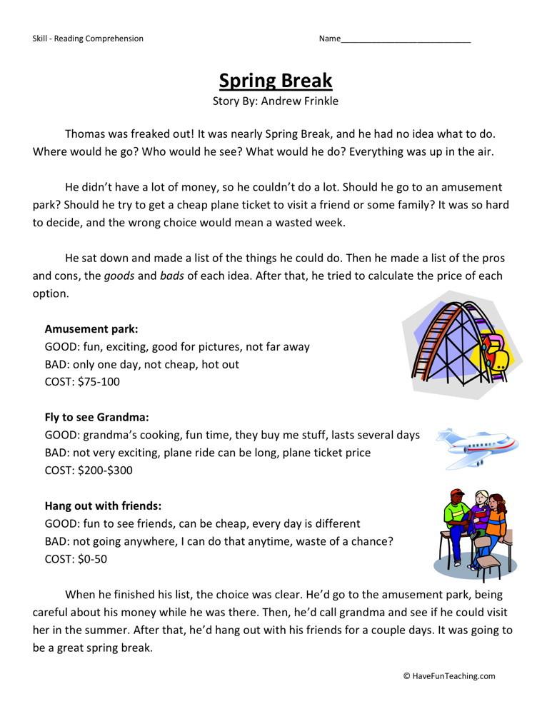 Reading Comprehension Worksheet - Spring Break