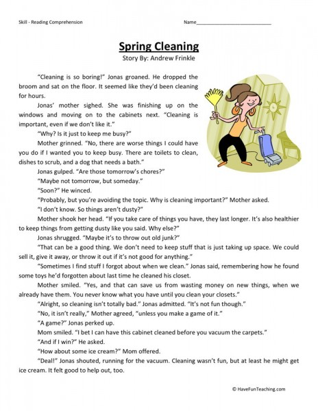 Reading Comprehension Worksheet Spring Cleaning