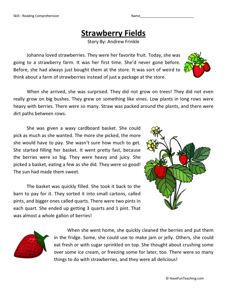 Reading Prehension Worksheet Strawberry Fields. Strawberry Fields. Worksheet. Reading Prehension Plants Worksheet At Clickcart.co