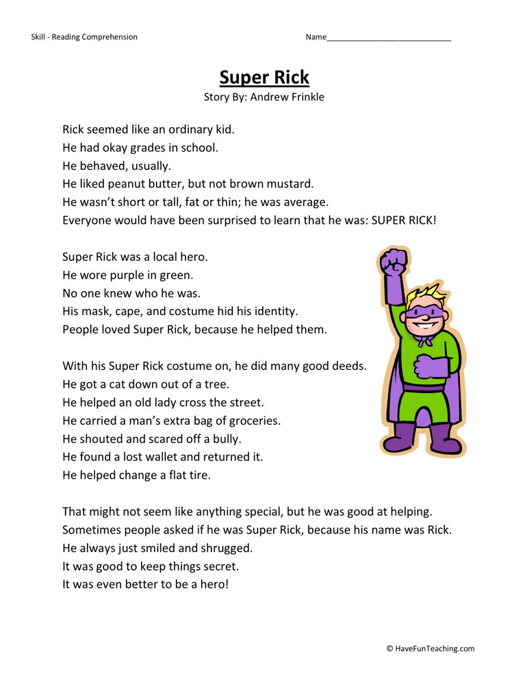 Reading Comprehension Worksheet - Super Rick