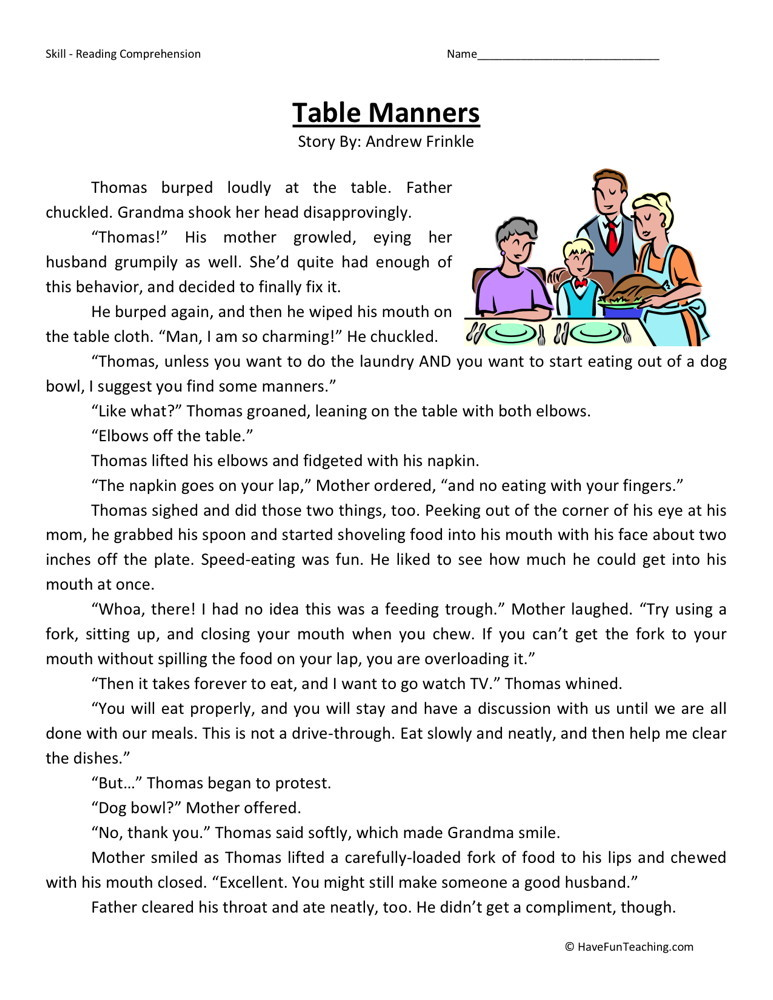 Printables Manners Worksheets reading comprehension worksheet table manners manners
