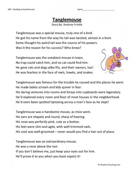Free Phonics Worksheets 3rd Grade : Reading comprehension worksheet tanglemouse