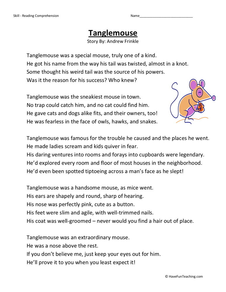 Reading Comprehension Worksheet - Tanglemouse