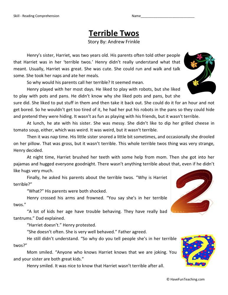 Reading Comprehension Worksheet Terrible Twos
