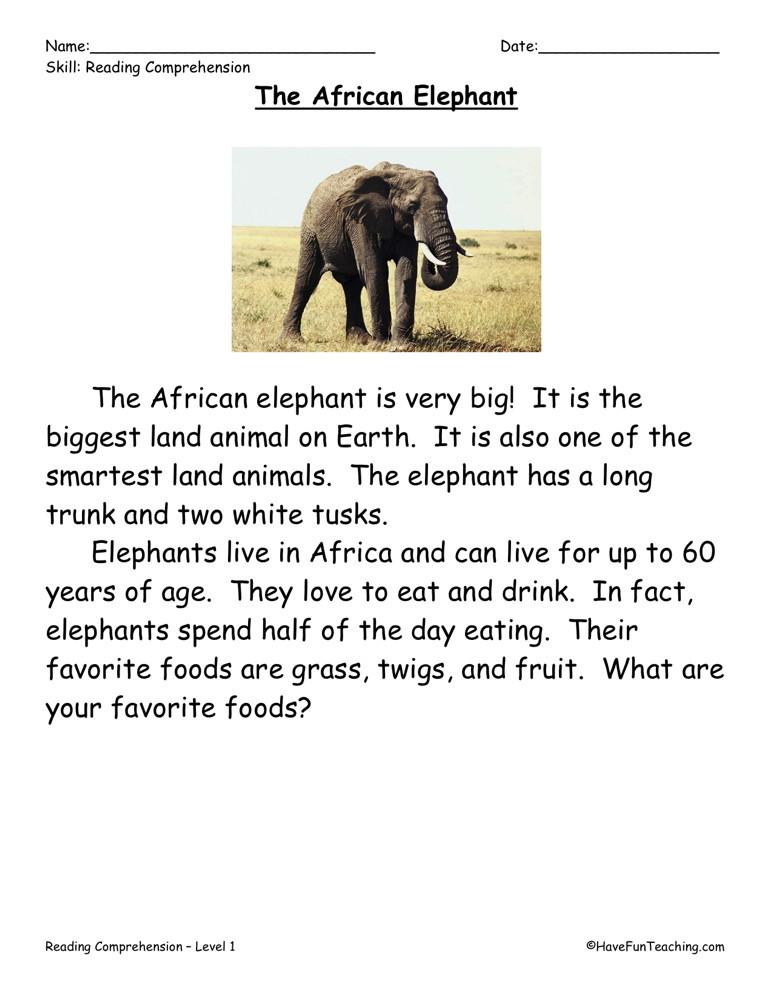 Reading Comprehension Worksheet - The African Elephant