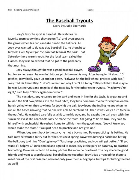 Fourth grade reading comprehension worksheets the baseball tryouts
