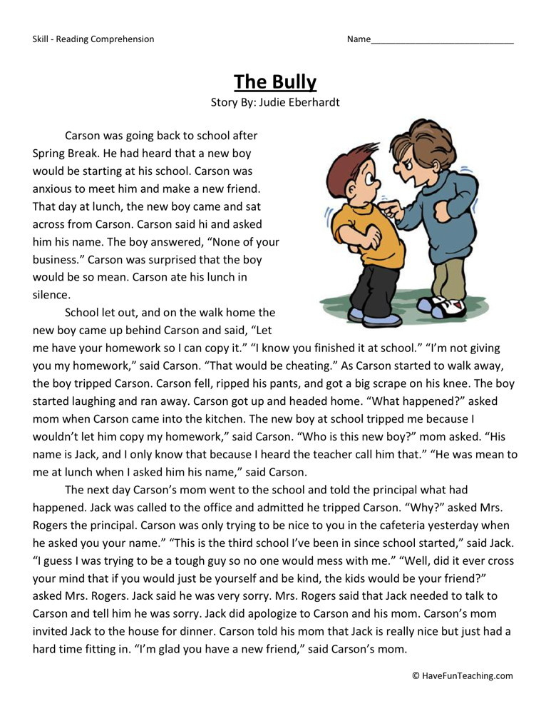 Reading Comprehension Worksheet - The Bully