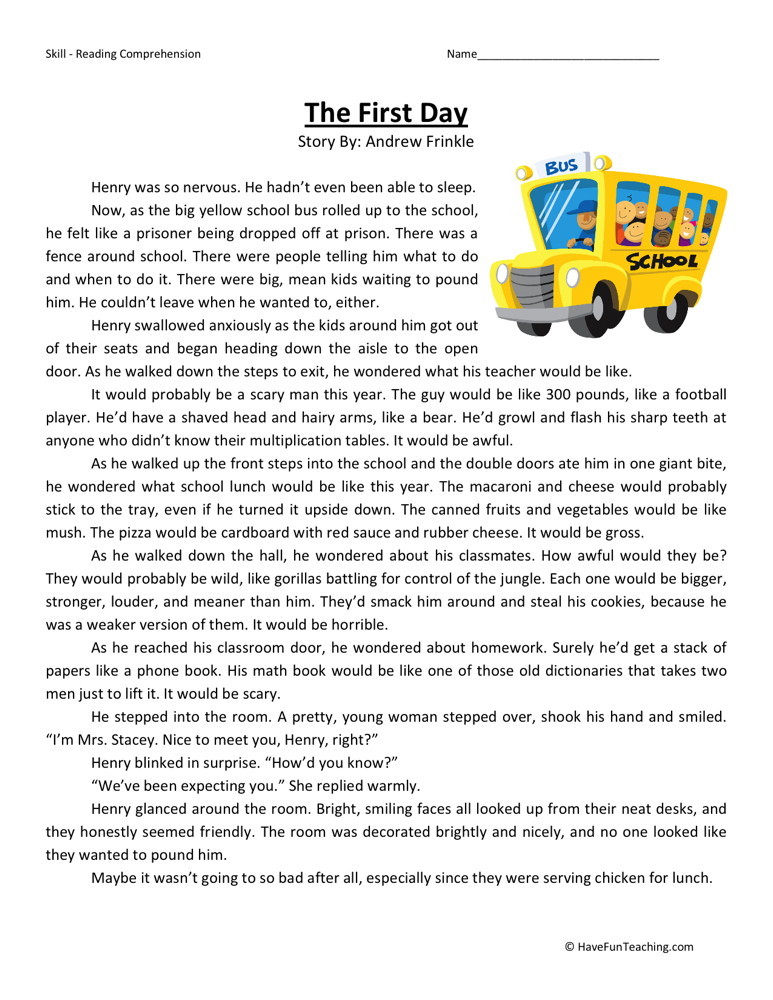 Reading Comprehension Worksheet - The First Day