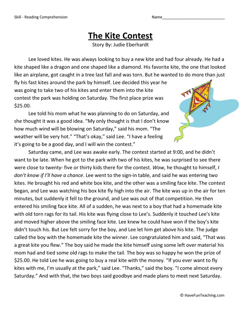 Reading Comprehension Worksheet - The Kite Contest