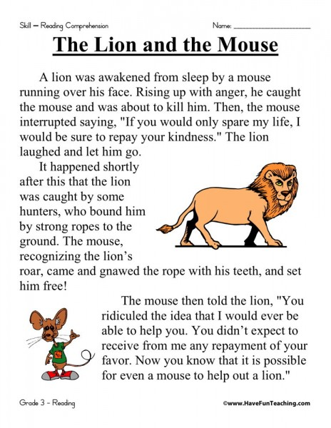 reading comprehension worksheet the lion and the mouse. Black Bedroom Furniture Sets. Home Design Ideas